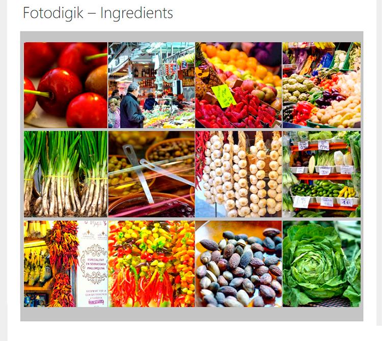 Galería Fotografías Fotodigik Ingredients