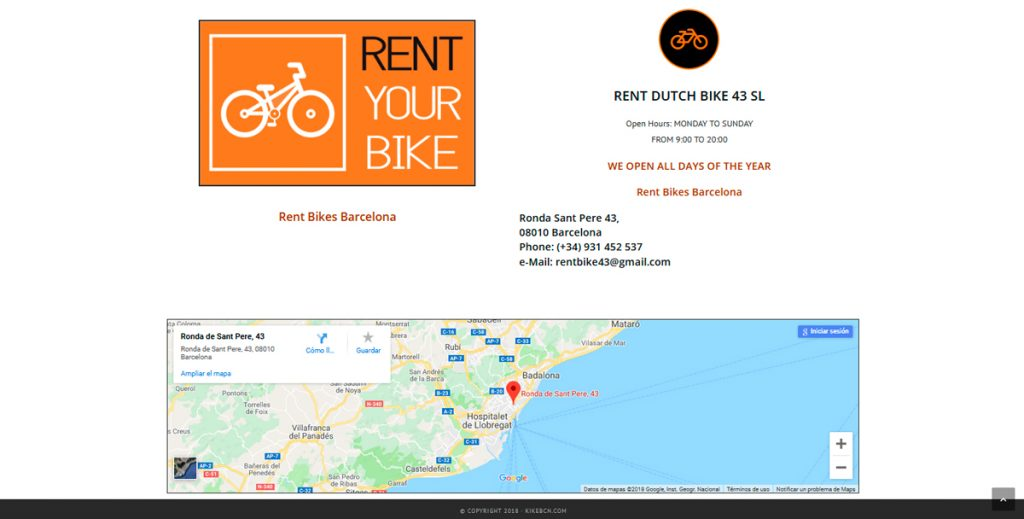 Disseny Multimedia Web Rent Bikes Barcelona
